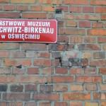 Sign on the Birkenau death gate