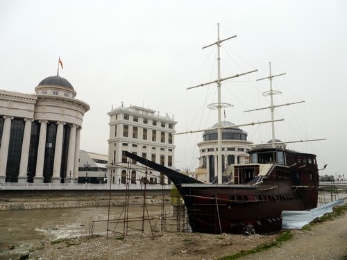 "One of the unfinished galleons.  Presumably for night life when complete.  I asked hostel staff why there were building them and he replied; ""because Skopje""."