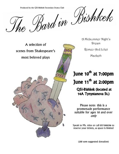 The poster - designed by our 11 year old Lady Macbeth - a future thespian and/or tattoo artist