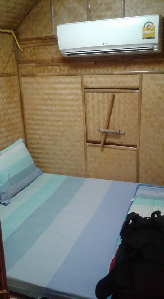 My little bungalow room - complete with widescreen TV, air-con and en suite - 10 quid