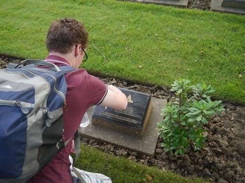 Cleaning Allan's memorial