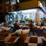 The flower market - always bustling with activity late into the night