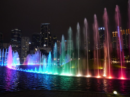 The fountains at night