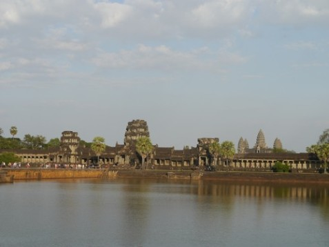 My first glimpse of the Angkor Wat temple.