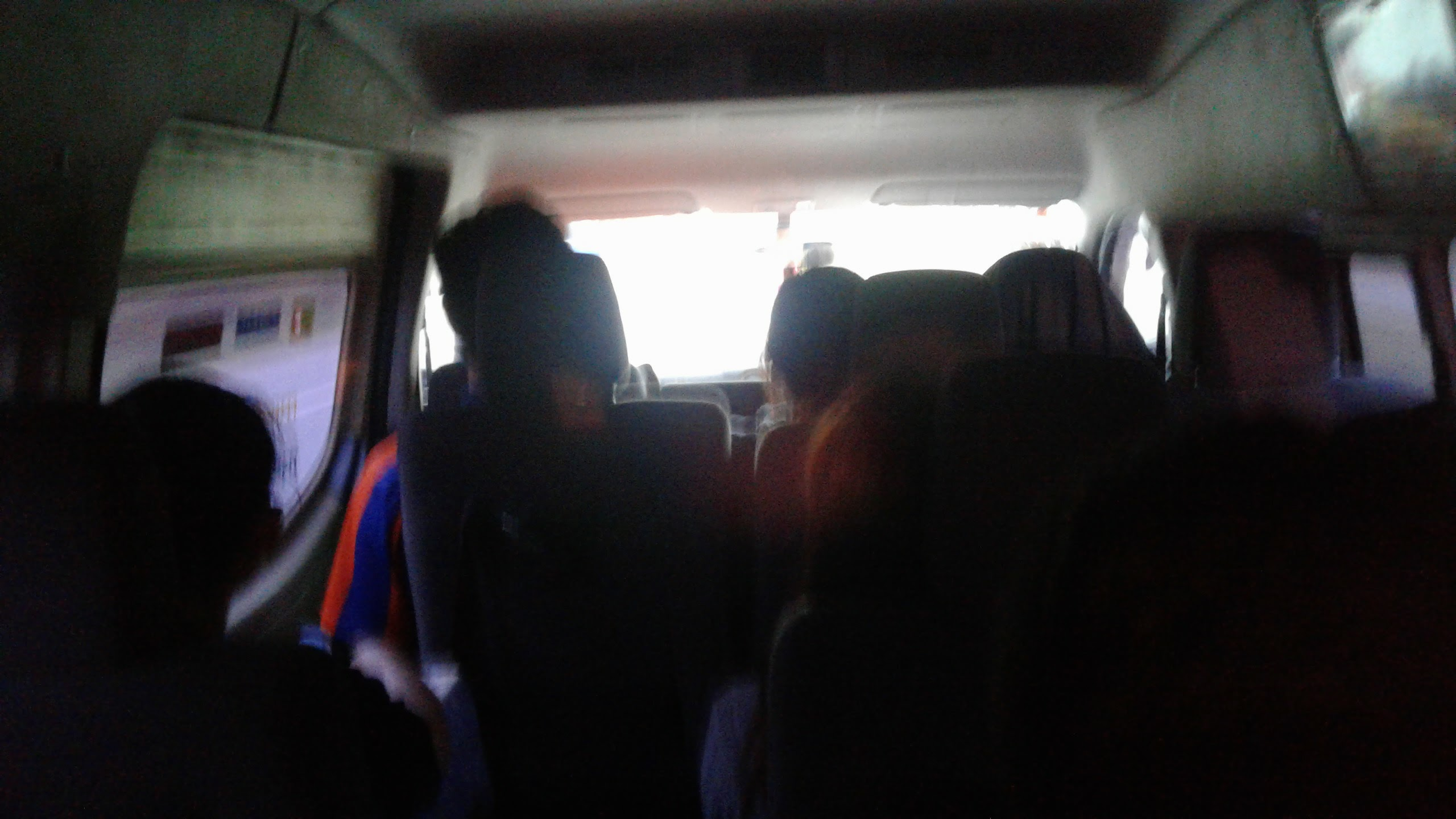 Crap photo of my view at the back of the mini-bus.