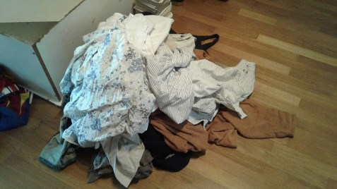 Piles of decent clothes I can no longer wear now that I am skinny fat.