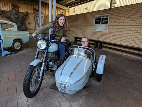 Alex thoroughly enjoying Hagrid's motorcycle and sidecar at the Harry Potter Studio Tour. I felt good also.