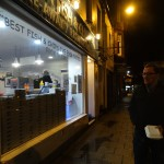 Outside the best fish and chip shop in the world in Oban.