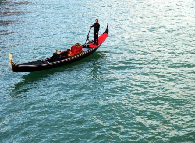 A gondola on the waters of Venice