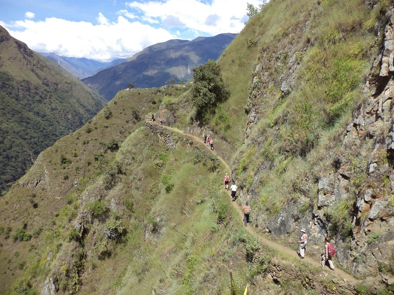A line of hikers on the Inca trail in Peru