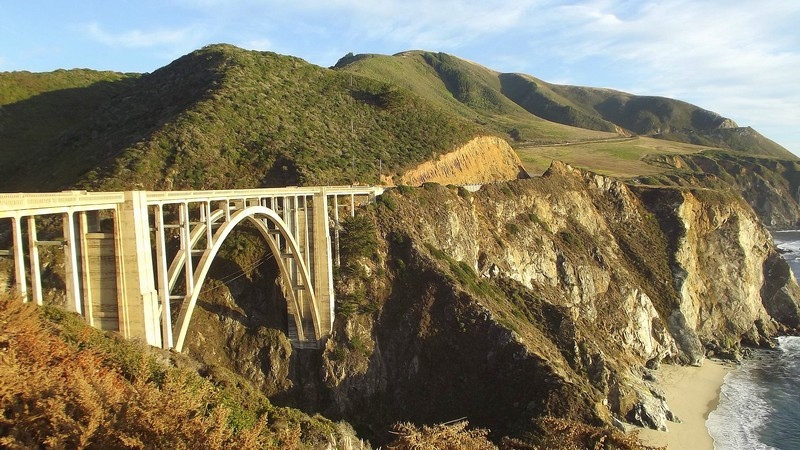 The Pacific Coast Highway bridge  at Big Sur, California
