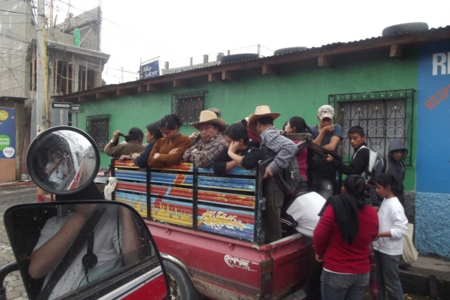 A crowded transport in Guatemala