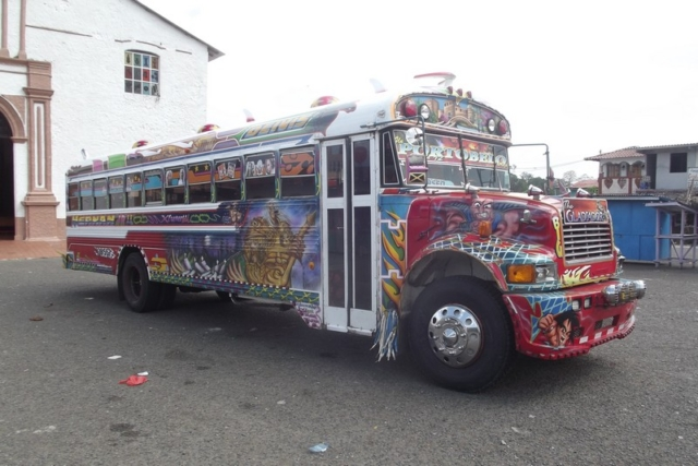 A colourful chicken bus of Central America