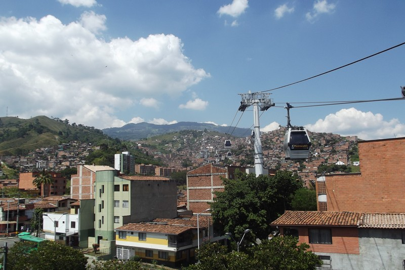 Taking the cable car in Medellin, Colombia