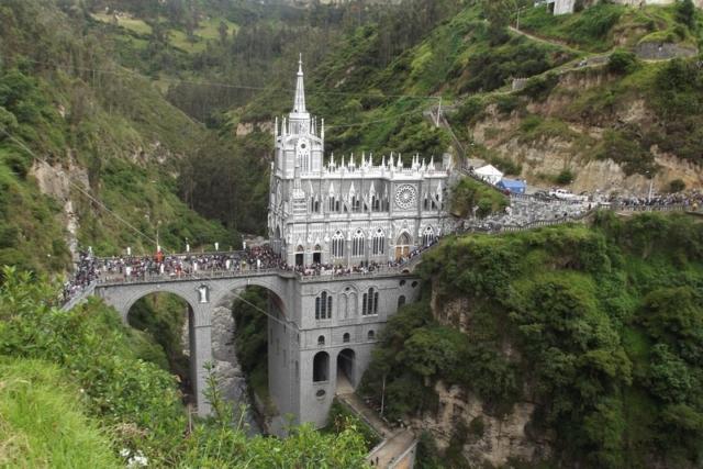 The spectacular Las Lajas Sanctuary during Semana Santa, Ipiales, Colombia