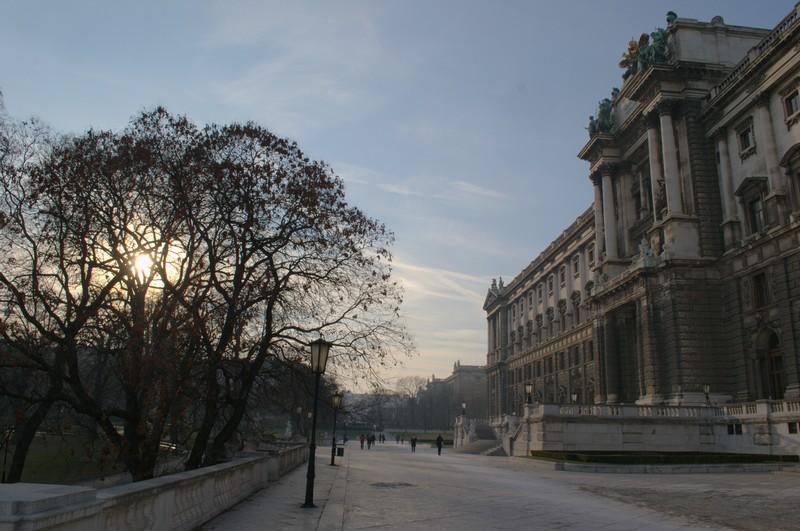 The museum quarter in Vienna in winter