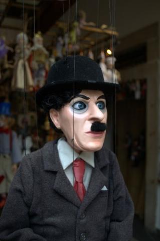 A Charlie Chaplain marionette in Prague