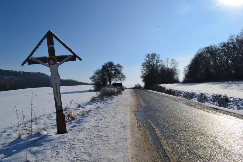 A roadside crucifix in Transylvania