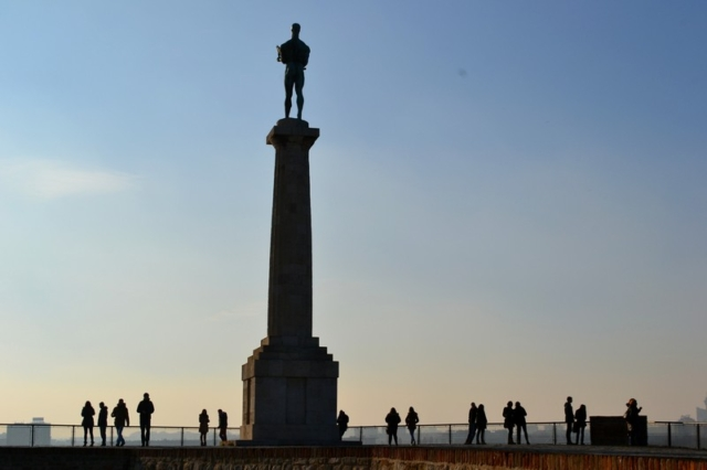 The Victor monolith and statue at Belgrade Fortress