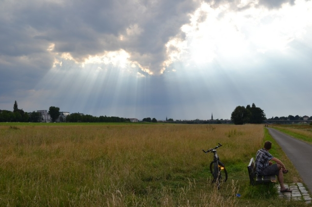 A cyclist rests as sunbeams shine over a Dresden field