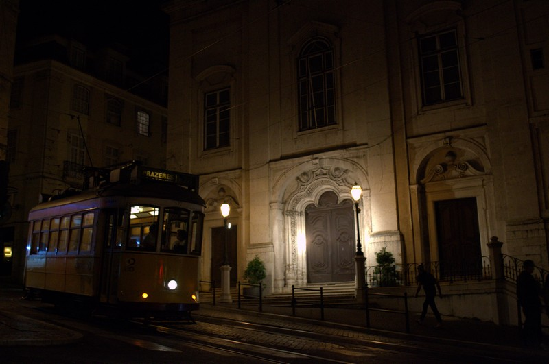 A Lisbon tram at night