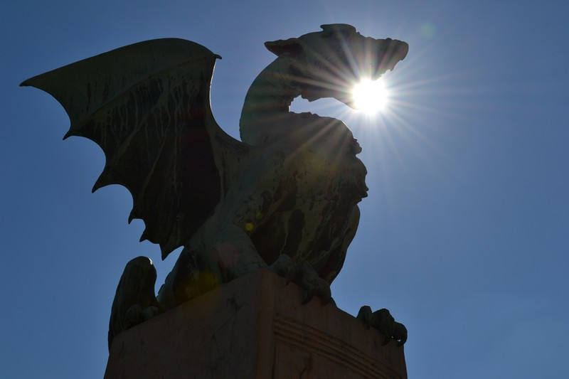 A dragon statue on a Ljubljana bridge