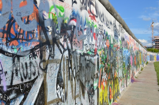 A graffiti covered section of the East Side Gallery in Berlin
