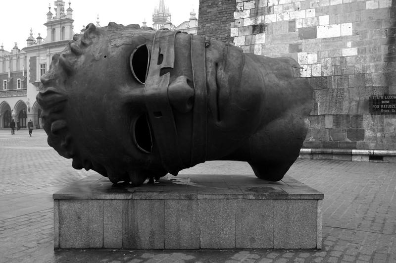 The Eros Bendato head sculpture in Krakow, Poland