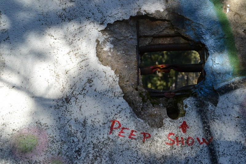 A hole in the abandoned bobsled track outside Sarajevo
