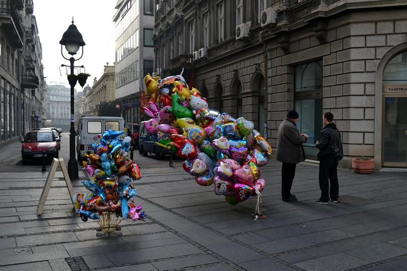 A balloon seller on the streets of Belgrade