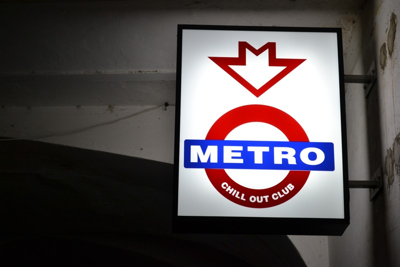 The sign for the Metro Chill Out Club in Olomouc