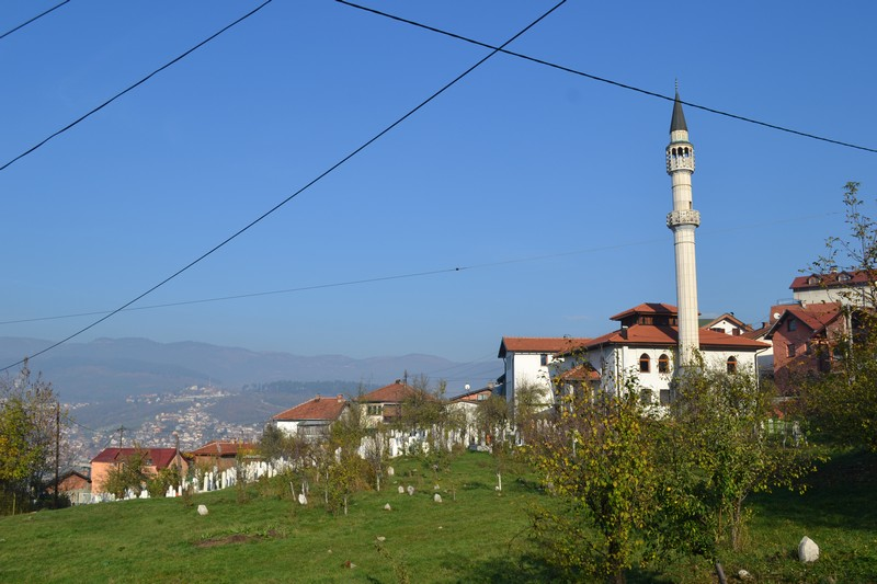 A mosque on the surrounding hills of Sarajevo