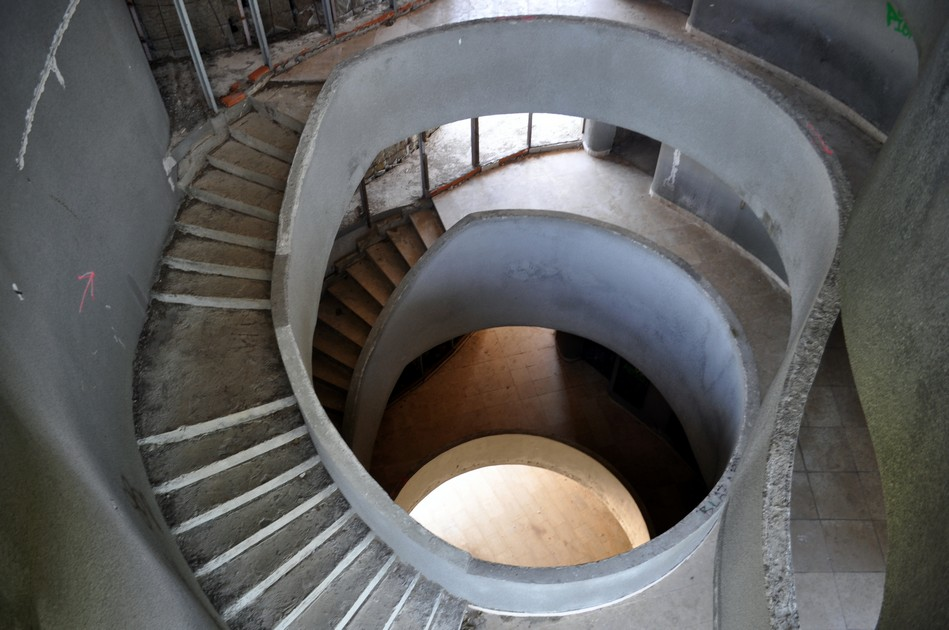 A staircase inside the Croatian monument