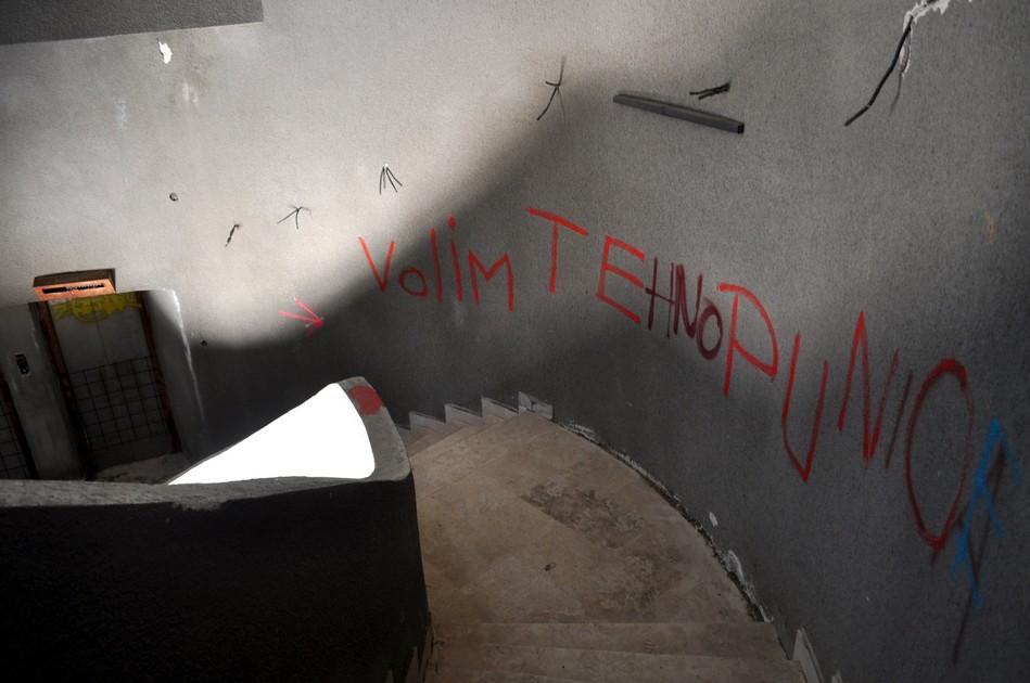 Graffiti inside the Croatian monument