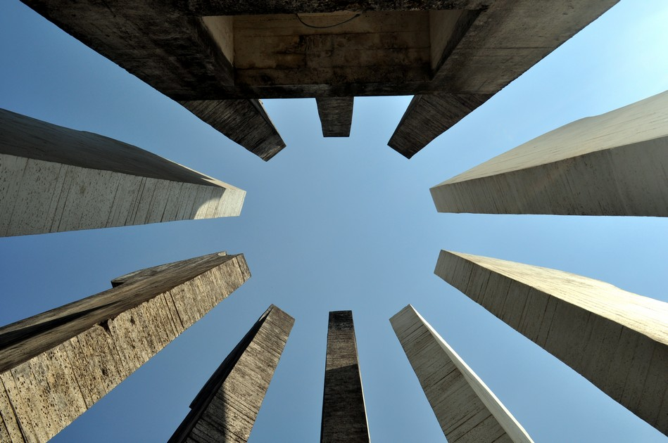 Looking up in the centre of the monument