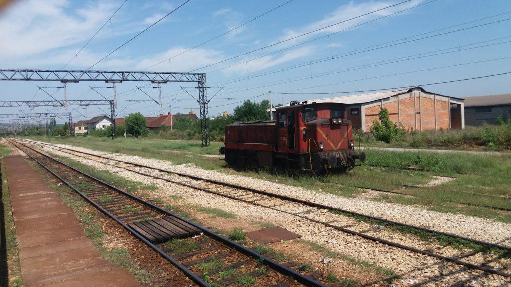 An engine on a train siding