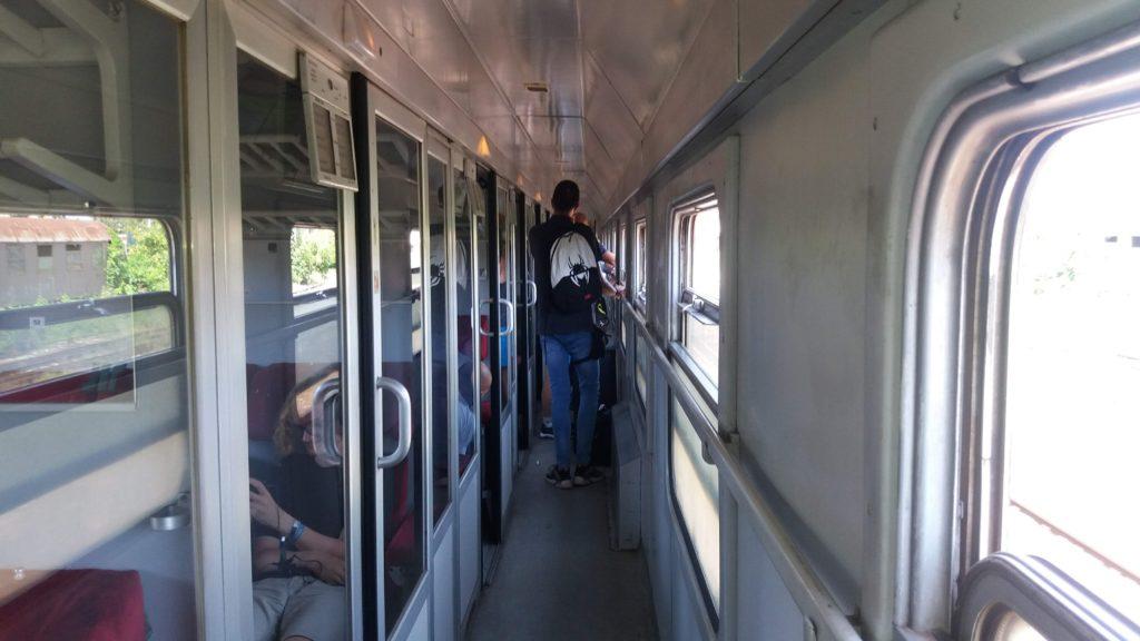 Inside a train carriage Belgrade to Sofia