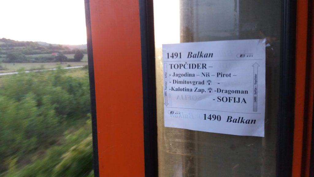Sign on the train door
