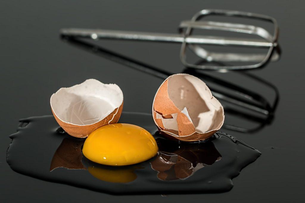 egg and broken eggshell